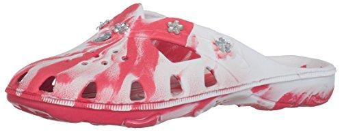 Brandsseller Damen Pantoletten Badelatschen Freizeitschuh Clog - Farbe: Rot/Weiß - Größe: 38