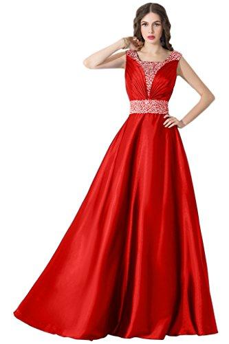Sunvary U-Ausschnitt Abendkleider Lang mit Strass Satin Ballkleider Partykleider Rot