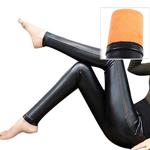 ZhiYuanAN Donna Leggings In Pelle Pu Taglia Larga Con Tasche Autunno E Inverno Foderato In Pile Treggings Casual Chic Multi-Stile Foderati Ecopelle Pantaloni Jeggings Nero 1