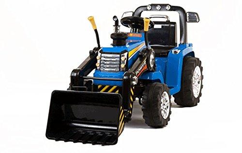 Mondial toys trattore per bambini con benna ruspa escavatore elettrico 12v con telecomando blu