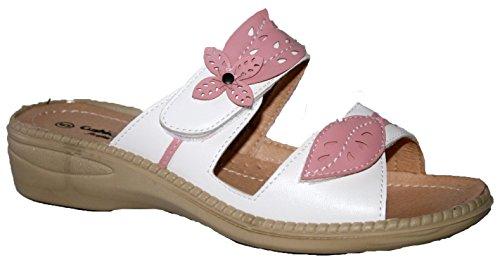 Donna Cushion Walk leggero regolabile cinghie estate Mule sandali con tacco in schiuma Memory White/Pink