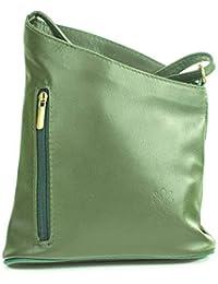 74f2b0cf0f811 Echt Leder Umhängetasche Damentasche Handtasche Ledertasche Schultertasche  dunkelgrün
