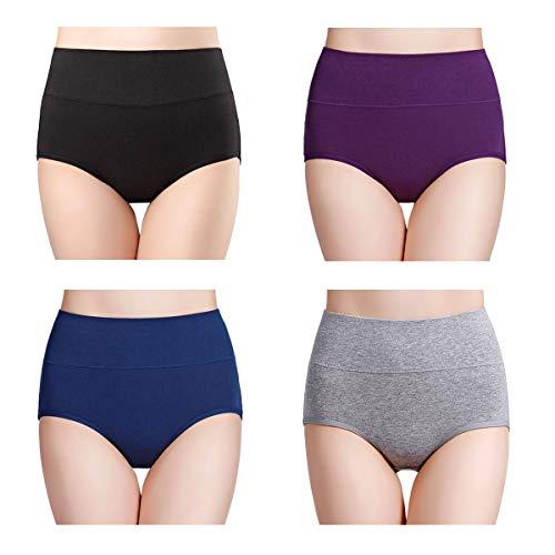 wirarpa Damen Unterhosen Baumwolle Slips Damen Hoher Taille Atmungsaktive Taillenslip Wochenbett Unterwäsche Mehrpack Größen 32-58, Mehrfarbig-4er Pack, XX-Large (50/52/54)