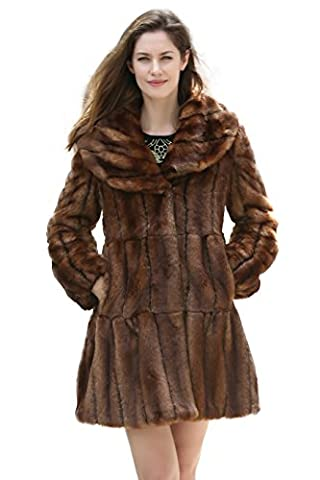 Adelaqueen Women's Vintage Brown Style Luxury Faux Fur Coat with Lotus Ruffle Collar S