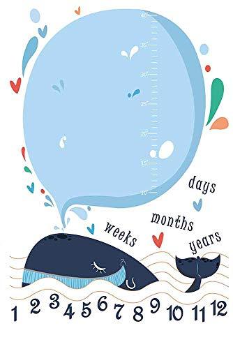 Tierwal Flanell Baby Meilenstein Decke, Fleiß Neugeborenen Monatlichen Meilenstein Decke Mädchen Junge Größe 100cm X 150cm