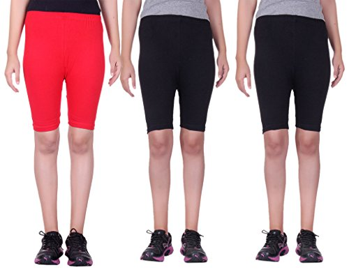 Belmarsh Stretchable Cycling Shorts - Pack of 3 (RED_BLK_BLK_36)