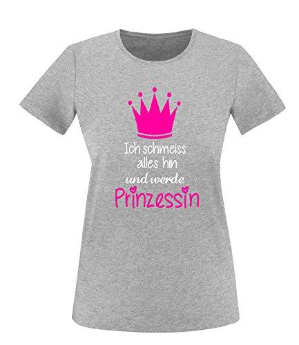 Luckja Ich schmeiss alles hin und werde Prinzessin Damen Rundhals T-Shirt Grau/Weiss/Neonpink