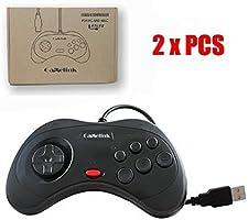Childhood Gamelink Cojín clásico de la alegría del regulador del USB del estilo de 2PCS para Saturn PC y negro del MAC