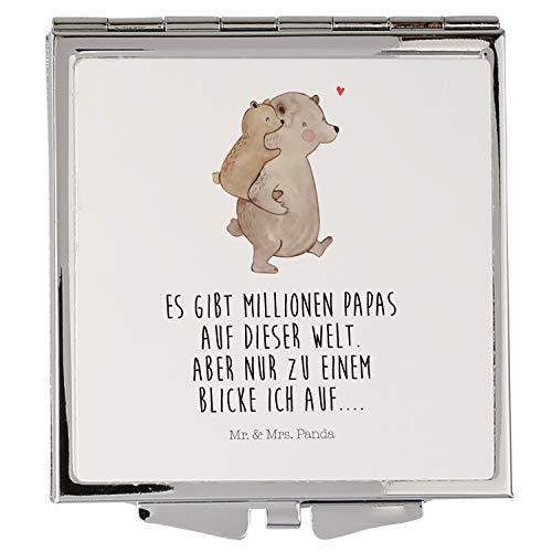 Mr. & Mrs. Panda schminken, Handtasche, Handtaschenspiegel quadratisch Papa Bär mit Spruch - Farbe Weiß
