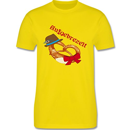 Oktoberfest Herren - Aufgebrezelt Wiesn - Herren Premium T-Shirt Lemon Gelb