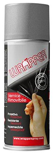 Quattroerre 16448 Wrapper Spray Vernici Rimovibili Tinta Metallizzata, Grigio Alluminio