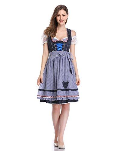 KOJOOIN Damen Dirndl Trachtenkleid Kurz - Midi Kleid für Oktoberfest - DREI Teilig: Kleid, Bluse, Schürze Polka Dots-Dunkelblau 38/L -