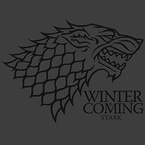 Game of Thrones House Stark Wappen Schattenwolf Winter is Coming T-Shirt grau Lied von Eis und Feuer Grau