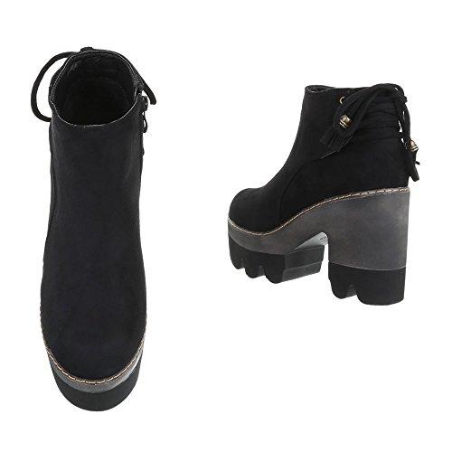 Boots / Bikerboots Damenschuhe Biker Boots Pump Moderne Reißverschluss Ital-Design Stiefeletten Schwarz
