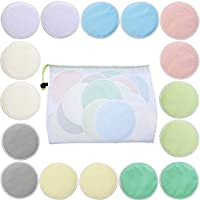 16 Pieces Bamboo Makeup Remover Pads Soft Face Clean Pads Facial Clean Skin Care Wash Cloth Pad with Mesh Bag, Assorted Colors