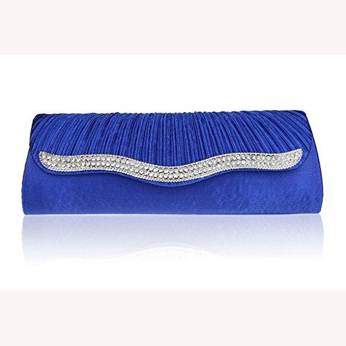 Il pacchetto vestito bag nuovo cristallo piega moda frizione borsa borsa da sera di banchetto sacchetto della sposa ( colore : Blu zaffiro )