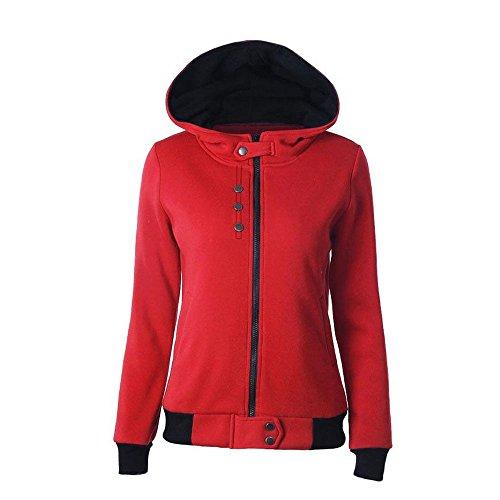 wlgreatsp Femme Automne / Hiver Mode Sweats à capuche Bouton Décor Zipper Manteau de poche Cardigan Red