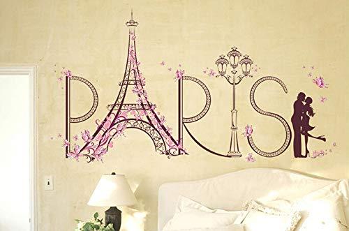 Naldesa Love Paris Wandsticker Schmetterlinge Eifelturm Wandtattoo Wandaufkleber Sticker - Paris-wand-aufkleber