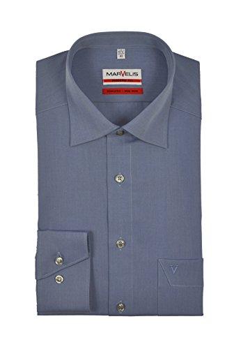 Marvelis - Modern Fit - Bügelfreies Herren Langarm Hemd in verschiedenen Farben (4704/64) Blau (13)