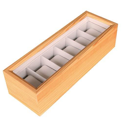 Case Elegance Edle Uhrenbox für 6 Uhren mit Glasfenster aus Kieferholz