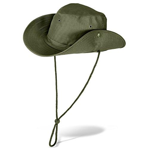 Black Snake Buschhut Safarihut mit Druckknopf Damen und Herren Sonnenhut - Oliv - 57 (Camouflage Cowboy Mütze)