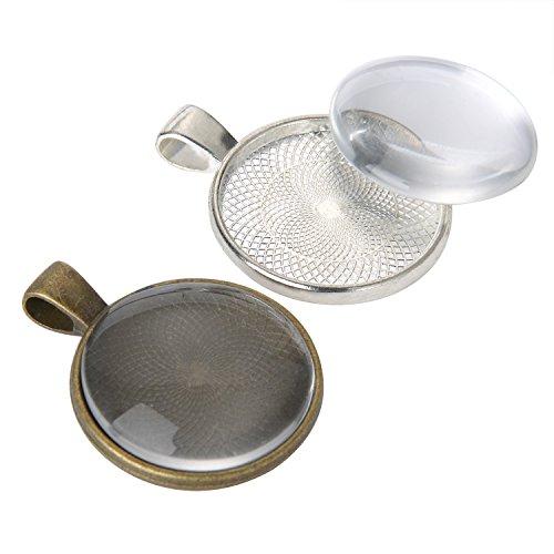 Glas Runder Anhänger (24 Stück Silbern und Bronze Anhänger Tabletts Runde Lünette mit 24 Stück Glas Runde Kuppel Fliesen, Insgesamt 48 Stück)