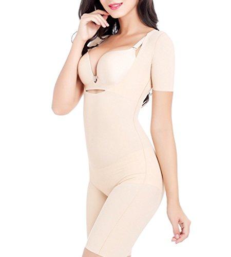Butterme Donna Elastico In Vita Sotto il seno Corsetto corpo sgretolarsi corsetto formazione Cincher corsetto Manica Corta Nude