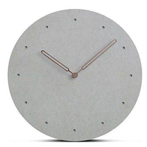 FlorLife Reloj de Pared de Estilo Europeo Sencillo, Madera MDF Decorativo, rústico, diseño de Lunares Gigantes, Redondo, sin Sonido Atractivo, Ajuste de Movimiento de Cuarzo AA Reloj de batería