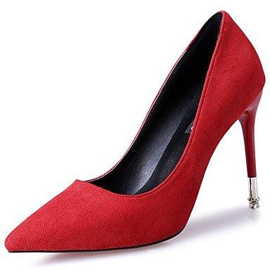 SANMULYH Scarpe Donna Microfibra Sintetico Pu Primavera Cadono Comfort Tacchi Stiletto Heel Punta Per Il Casual Rosso Nero Rosso