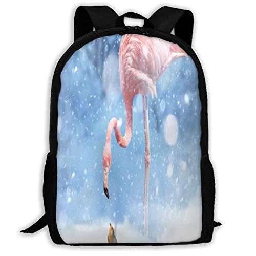 Rucksack Flamingos im Schnee Reißverschluss Schultasche Büchertasche Daypack Reiserucksack Turnbeutel für Männer und Frauen