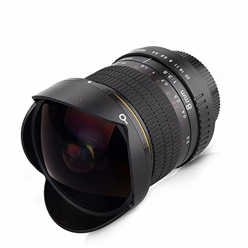 8 mm F / 3.5 Ultra Gran Angular de Pez para Nikon Cámaras DSLR D3100 D3200 D5200 D5500 D7000 D7200 D90 D800 D700