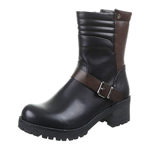 Damen Schuhe, 879-PA, STIEFELETTEN Schwarz