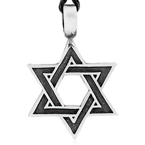 Llords Schmuck klassischer Davidstern Anhänger Halskette, feinster Zinn Metall (Kostüm Zinn David)