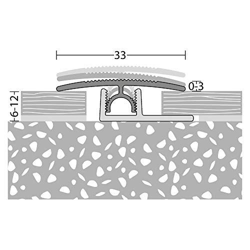 Übergangsprofil mit Basisprofil 100cm Silber