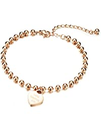 NEVI Love Forever Heart & Round Balls Rose Gold Plated Anklet Bracelet For Women & Girls (Rose Gold)