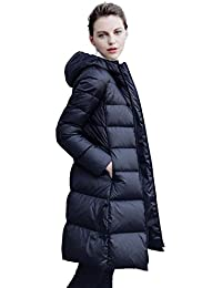Queenshiny thick Long Women's Down Coat hooded Goose down filling winter uk size from 8--18