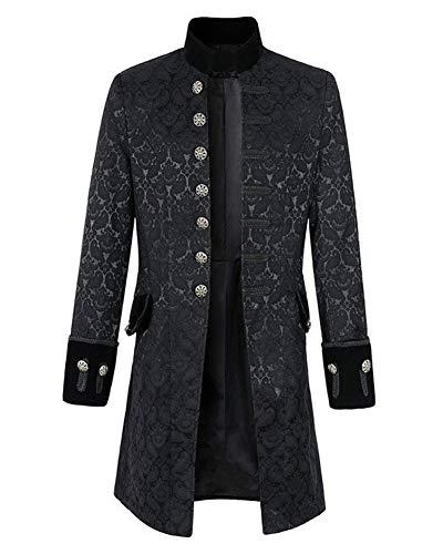 LaoZanA Herren Steampunk Tuxedo Jacken Jacquard Gothic Vintage Mittelalter Kostüm Smoking Blazer Schwarz 5XL