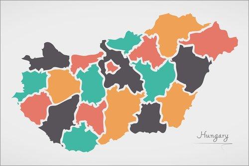 Alu Dibond 60 x 40 cm: Ungarn Landkarte modern abstrakt mit runden Formen von Ingo Menhard