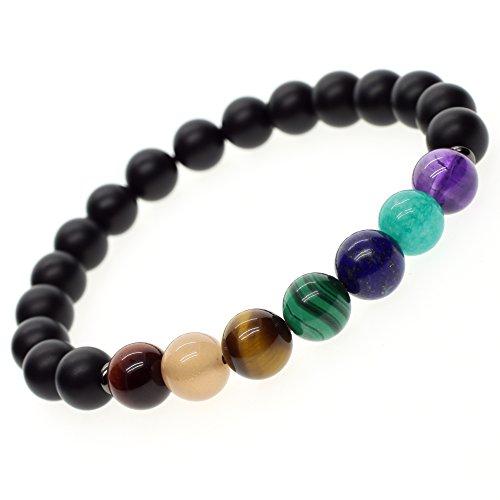 COAI Geschenkideen Yoga-Armband aus Eingeschliffenem Onyx und 7 Chakra Gebetsarmband in Größe M für Damen und Herren