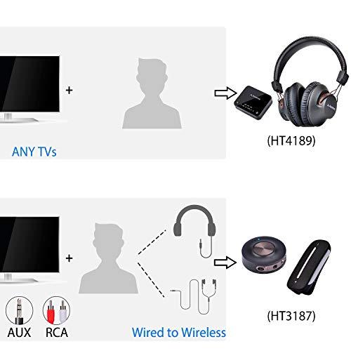 2018 Avantree HT4189 Kabellose Kopfhörer für Fernseher mit Bluetooth Transmitter, Unterstützt Optisch, RCA, 3.5mm AUX, PC USB Audio, Plug & Play, No Delay, 30m HOHE REICHWEITE 40 Std. Akku - 4