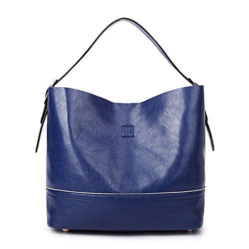 ZPFME Womens Handtasche Zwei Stücke Mode Mädchen Party Retro Damen Mode Casual Handtaschen Damen Tasche Geschenk Blue