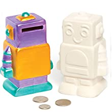 Robot Ceramic Coin Banks for Children to Paint Decorate and Display - Creative Porcelain Craft Set for Kids (Box of 2)