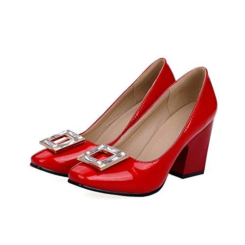 VogueZone009 Femme Pu Cuir Mosaïque Tire Carré à Talon Haut Chaussures Légeres Rouge