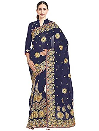 SOURBH Women's Faux Georgette Bridal Marriage Saree, Free Size (4083_Navy Blue)