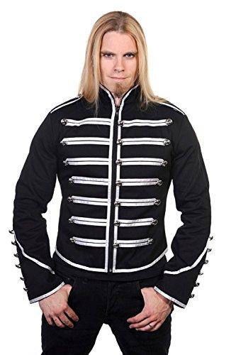 Herren Einzigartige Gothic Steampunk Silber Schwarz Parade Militär Marching Band Drummer Jacke Goth Punk Emo Gr. Large, schwarz/Silber