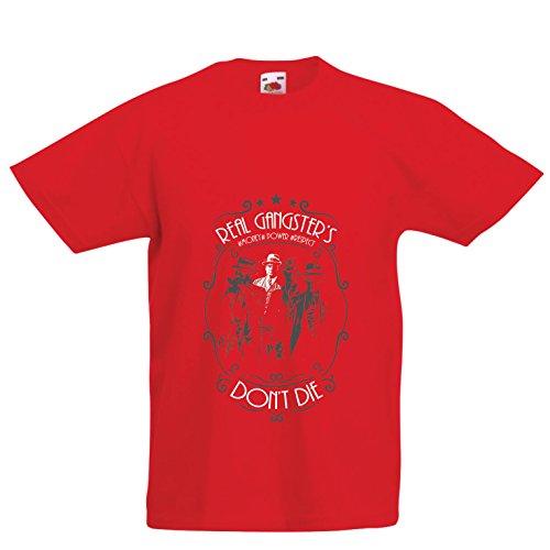Maglietta per bambini/ragazzi i veri gangster non muoiono mai - italiano - citazioni mafiose siciliane - il padrino - cosa nostra (12-13 years rosso