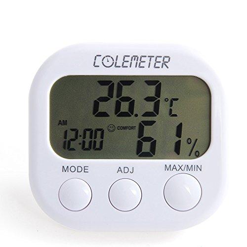 Thermo Hygrometer, COLEMETER Digital Multi Uhr Thermometer Hygrometer Luftfeuchtigkeit Messen Feuchtigkeit Messgerät Raumluftüberwachtung 0°C~50°C
