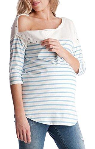 Aivosen donna estive a righe maglietta prémaman l'allattamento top casual manica mezza camicie loose popolare bluse comoda breastfeeding t-shirt moda
