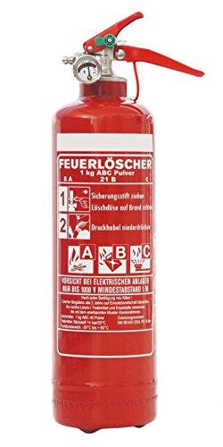 1kg ABC Pulver Auto Feuerlöscher, EN3, inkl. Andris Prüfnachweis mit Jahresmarke, KFZ-Halter + ISO-Symbolschild