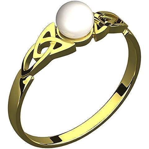 Anello in Argento Placcato Oro 14 carati,con Perla Sintetica, Nodo Celtico della Trinità